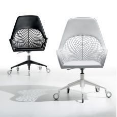 Guapa DPA - Midj armchair, in metal and hide, swivel and adjustable in height