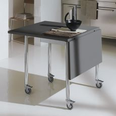 Flash & Free - Convertible table Bontempi Casa, foldable and wheeled, in metal with laminate top, available rectangular or oval, in different colours