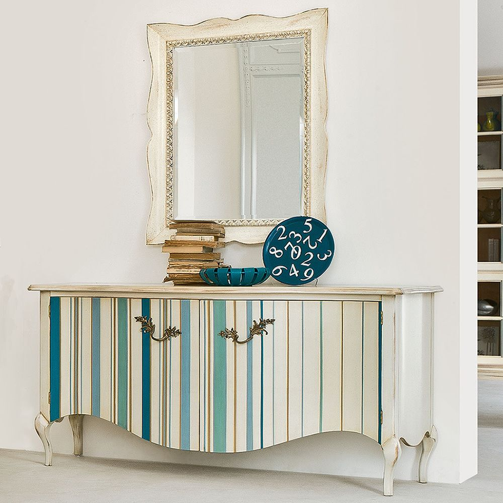 Rectangular mirror with classic frame made of crete beige lacquered old-looking wood, matched with Vela Decor 1210 sideboard