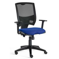 Metal Ny - Task chair for office, nylon base with mesh backrest and upholstered seat, with or without adjustable armrests, different finishes available