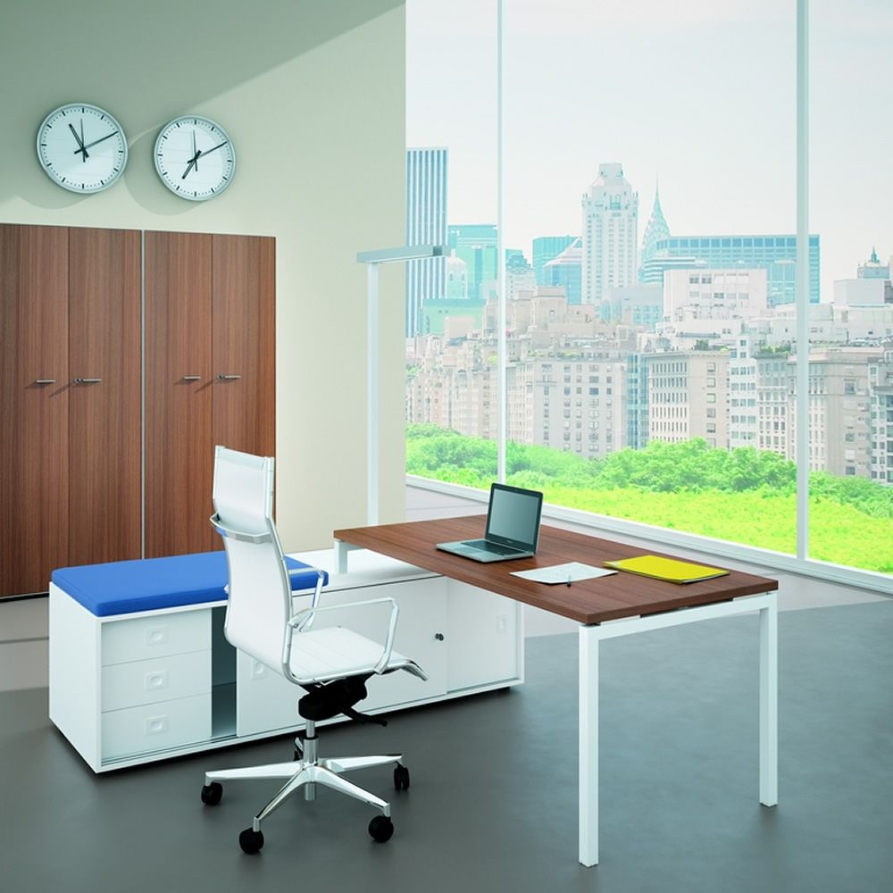 Desk with service cabinet, with top in Canaletto walnut colour laminate