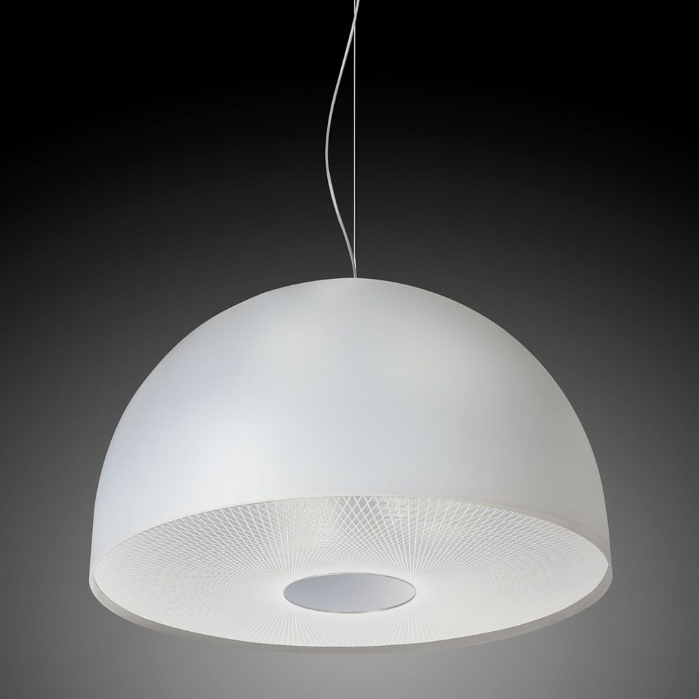 Lampe à suspension en méthacrylate et disque en version blanc satin