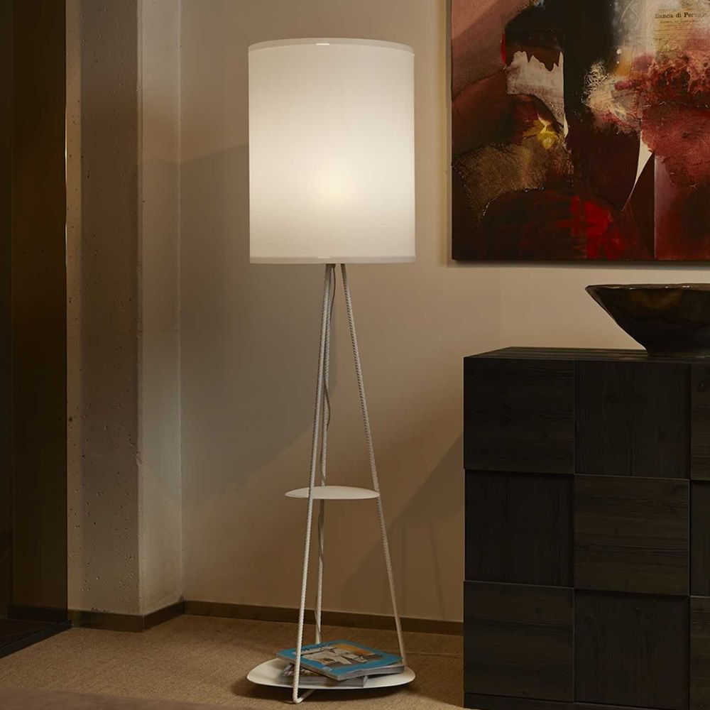 Metal floor lamp with shelves, white colour