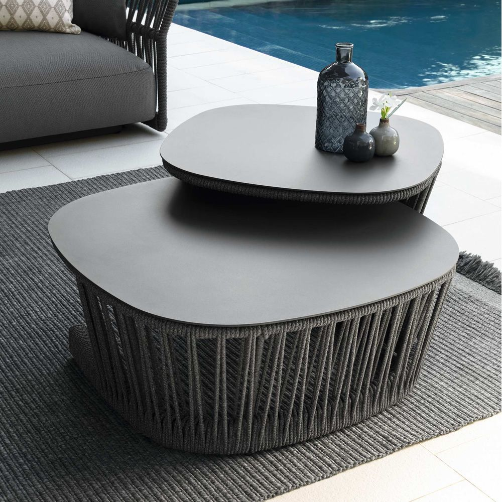 Coffee table in metal and rope in graphite grey colour (Size: M, L)