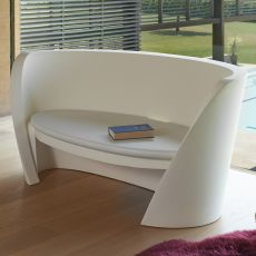 Rap - Slide stackable sofa in polyethylene, also with lighting system and cushion, also for the garden