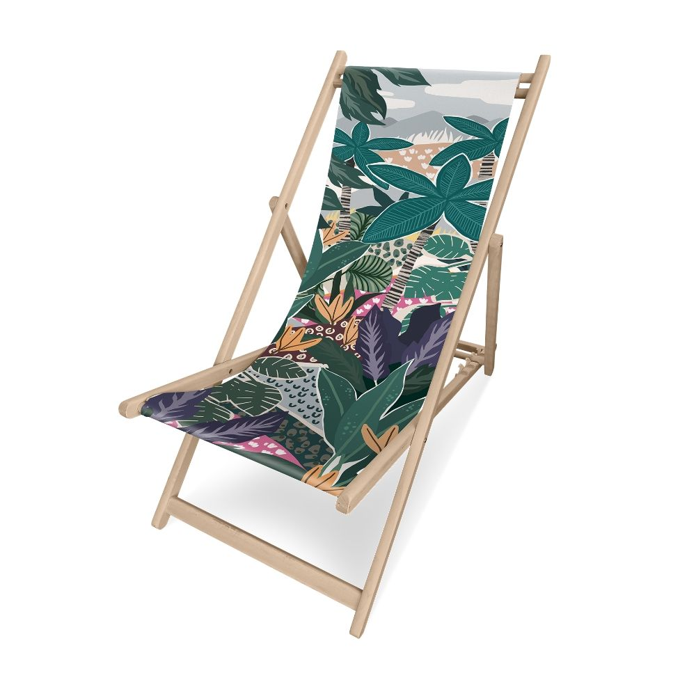 Pôdevache folding deckchair in pronted polyesther fabric, Palm Trees pattern