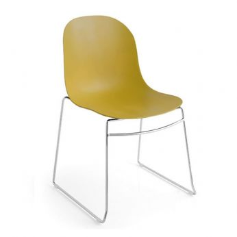 CB1696 Academy - Metal chair, with seat in mustard yellow polypropylene