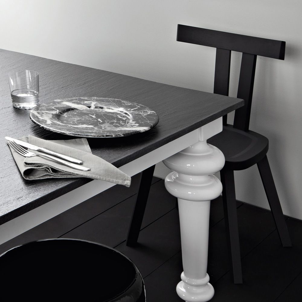 Chair in black lacquered wood