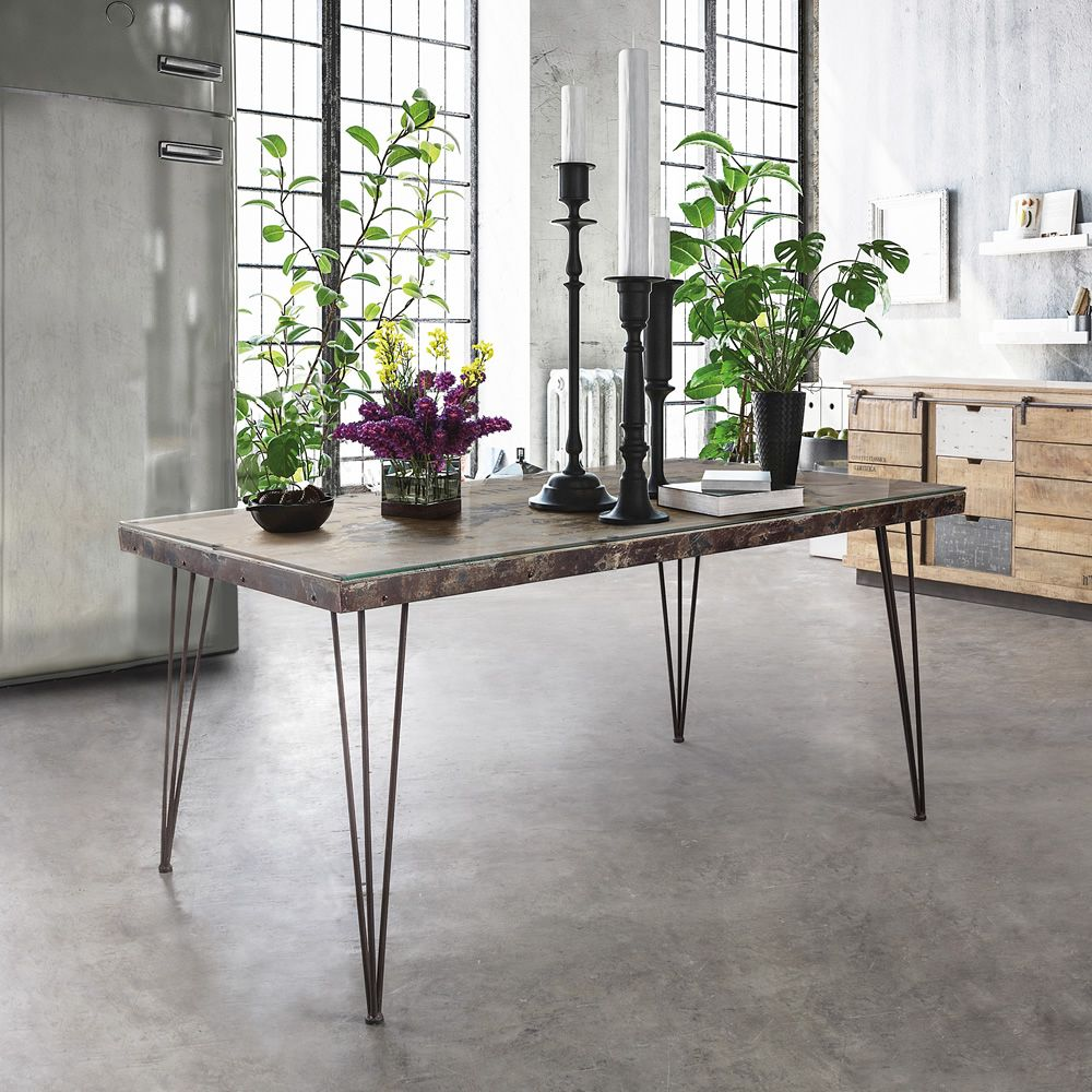 Urban Style table with MDF top with concrete decoration and glass surface
