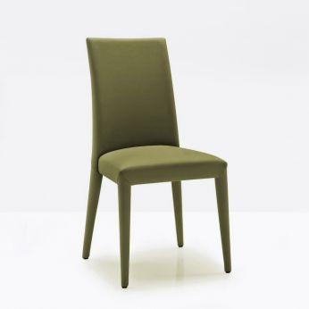 CS1266 Anaïs - Chair entirely covered with leather, olive green colour