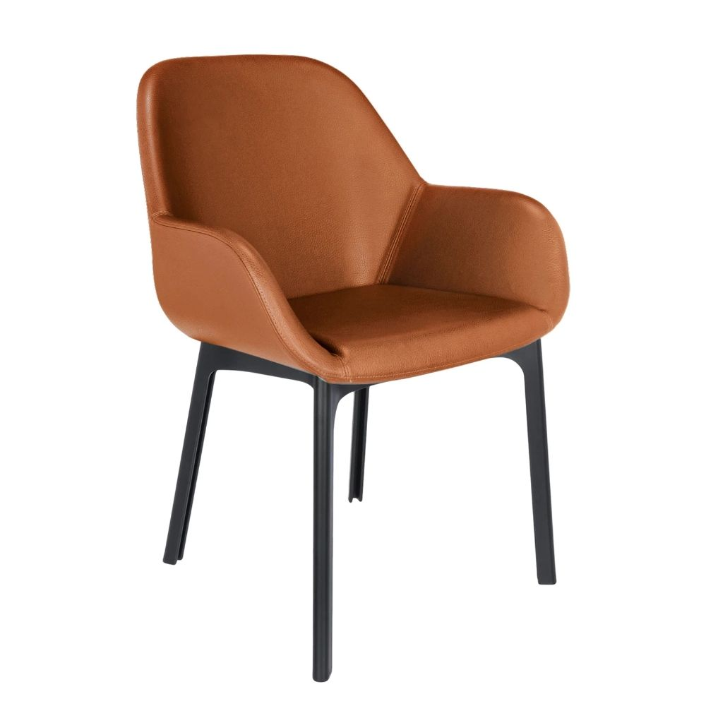 Kartell design armchair, structure in black colour, covering in tobacco colour