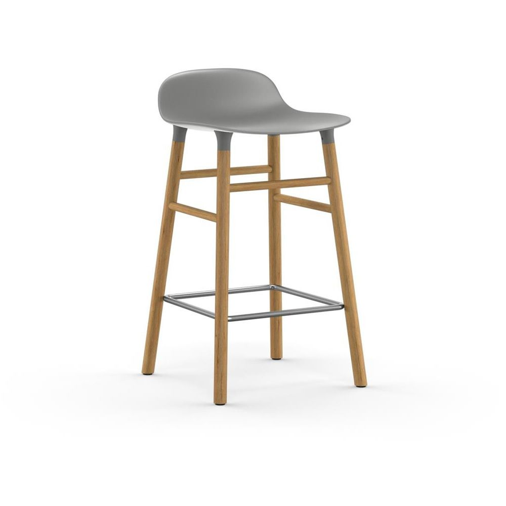 Oak stool with grey polypropylene seat, two different heights available