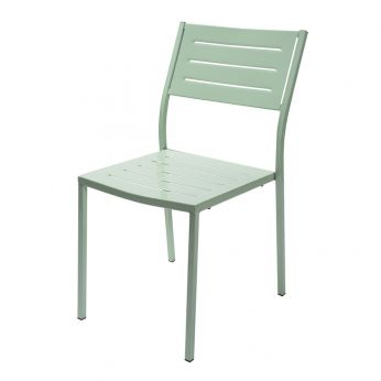 RIG72 - Stackable metal chair, RAL 6019 colour, for outdoor