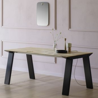 Artù R - Table in black lacquered wood, with top in vintage oak