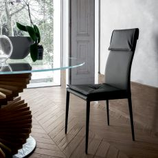 Adria 8041A - Tonin Casa chair, entirely covered with leather or imitation leather, different colours available
