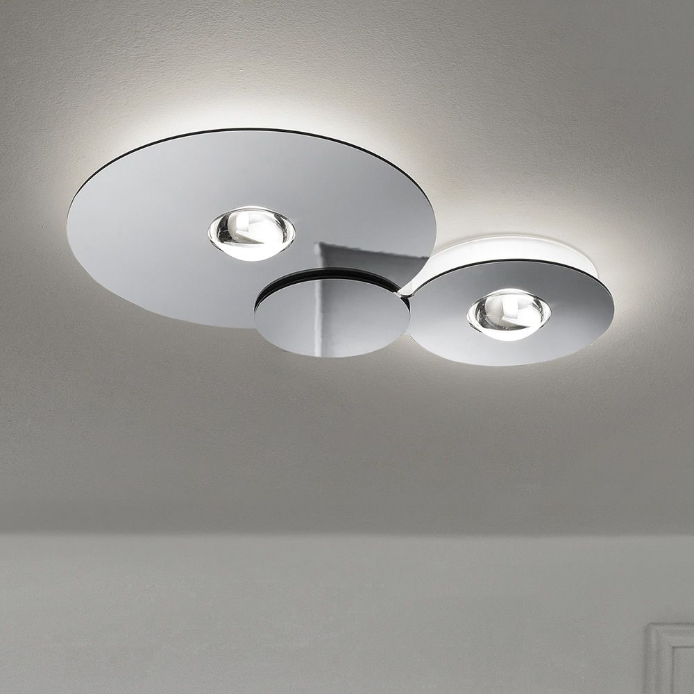 Ceiling lamp made of metal and plexiglass in chrome colour (size: M)