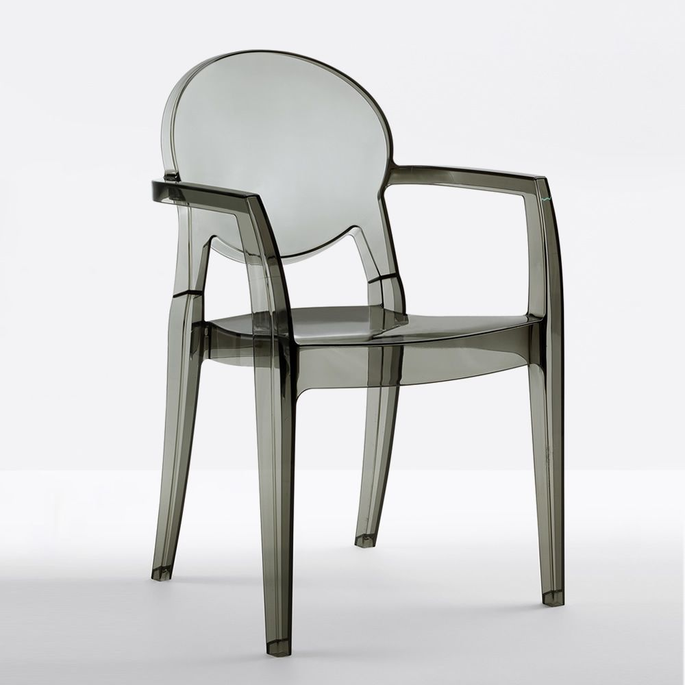Stackable chair in transparent smoked grey colour