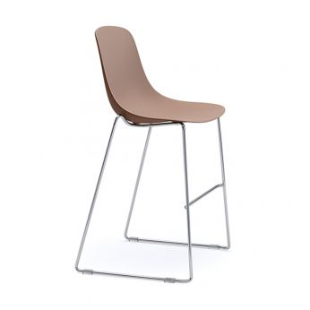 Pure Loop Stool - Stackable stool with metal legs and two-tone polypropylene seat, facepowder pink-marsala
