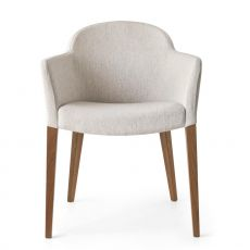 CB1110 Gossip - Connubia - Calligaris wooden armchair with armrest, padded seat