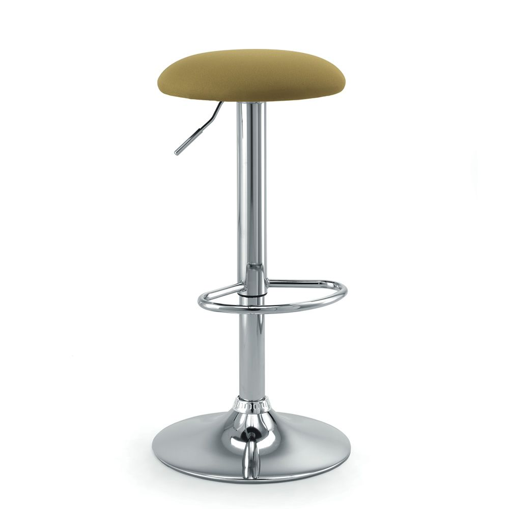 Stool without backrest, seat in green fabric