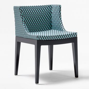 "Mademoiselle Memphis by Sottsass - Small armchair of ""Kartell goes Sottsass"" series, covered with turquoise fabric Rete"