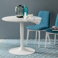 CB4005-S Planet - Connubia - Calligaris metal table with wood, melamine or glass top, diameter 90 cm