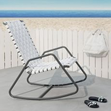 InOut 809 F - Gervasoni rocking armchair, in aluminium, with PVC seat, also for garden