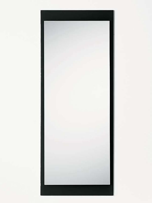 Rectangular mirror with black glass frame