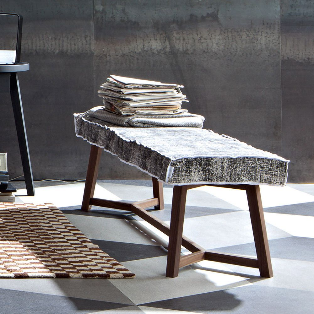 Bench made of American walnut dyed wood, padded seat covered with fabric