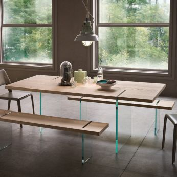 Agazia T - Table with glass legs, natural oak top, matched with Agazia P bench