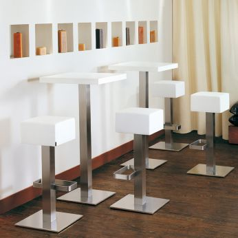 Hx 4446 - Bar stool in metal, with white leather seat