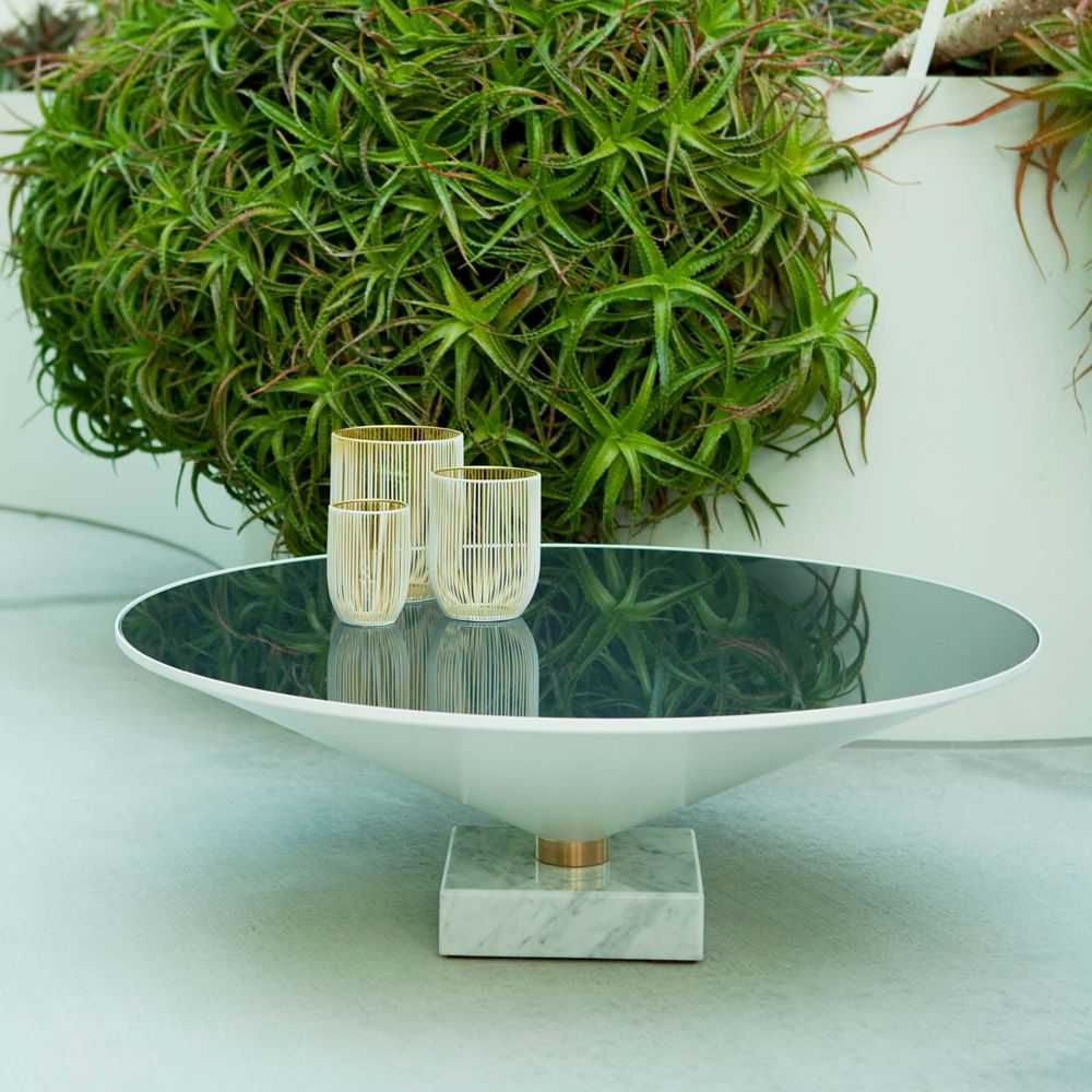 Coffee table in marble and metal with glass top, white version (size: L)