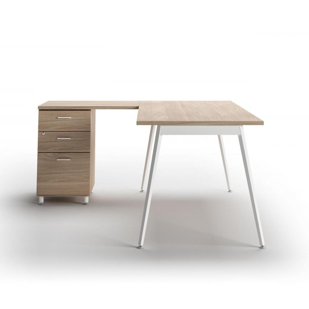 Office desk in the shape of L, with drawers, oak finish
