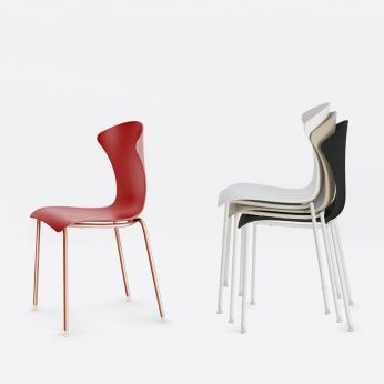 Glossy - Stackable chairs made of chromed metal with polypropylene seat