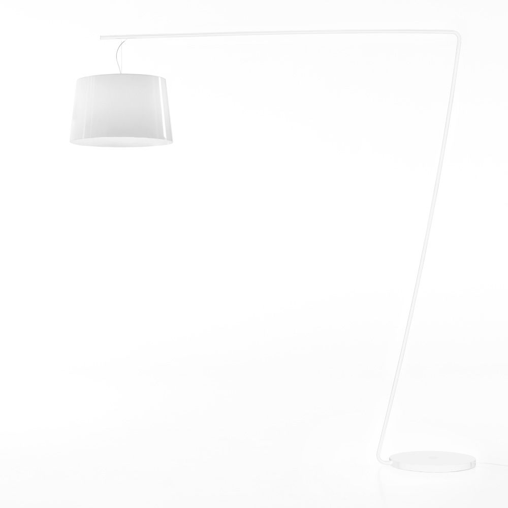 Floor lamp in white varnished metal and white methacrylate