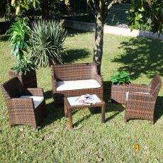 Kit Esterno 04 - Outdoor kit in aluminium and synthetic rattan: sofa, 2 armchairs and coffee table, available in different colours