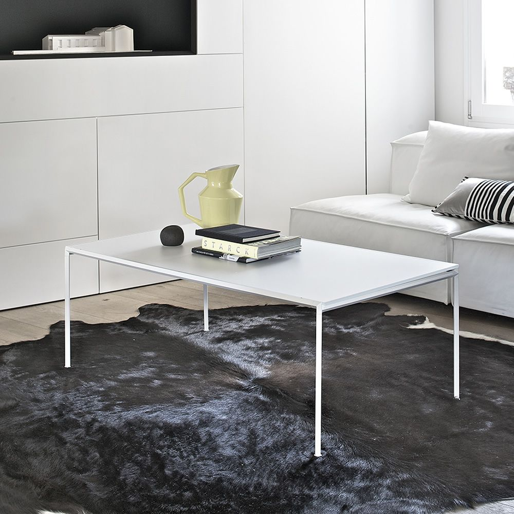 Coffee table with white colour lacquered structure and velvet matt anti-scratch white laquered glass top