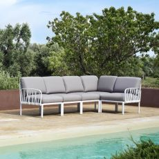 Komodo 5 - Modular sofa with 5 seaters, in polypropylene with cushions, for garden