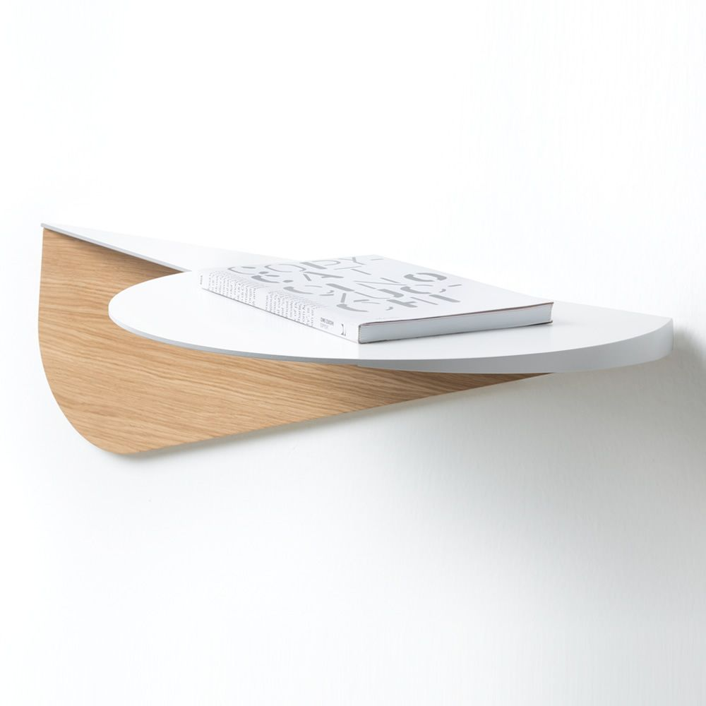 Wall shelf in wood and white varnished steel