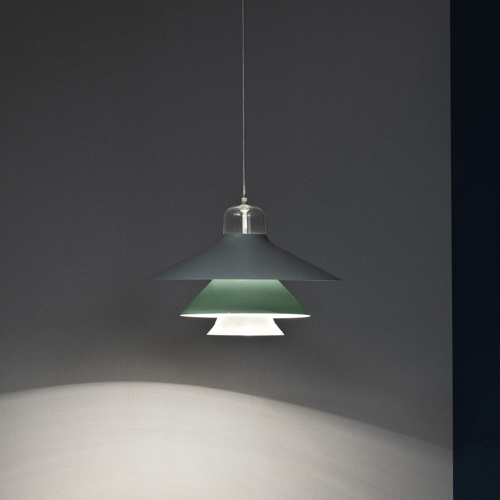 Pendant lamp made of glass and varnished steel in mint green colour (size: L)