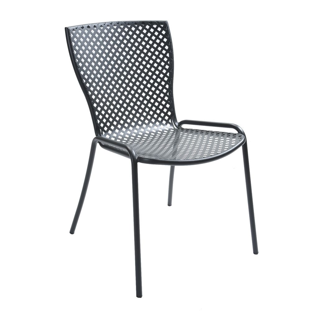 Stackable metal chair for garden, anthracite grey colour