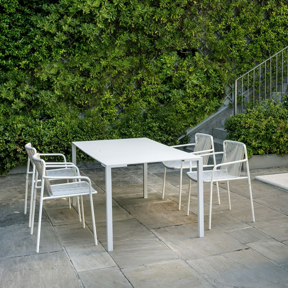 Pedrali table for outdoors, structure and top in white, 119 x 79 cm