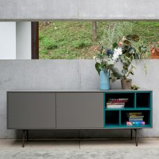 Code-2 - Dall'Agnese sideboard made of metal and veneered wood, different colours available, two doors and an open compartment