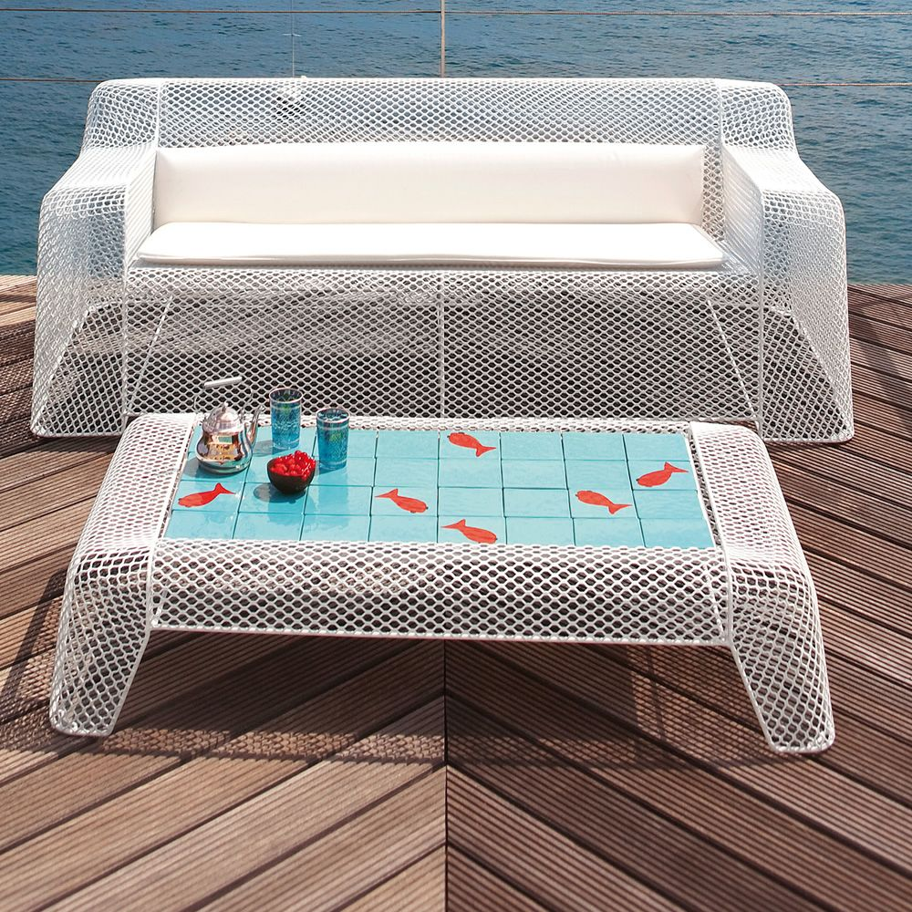 White varnished metal table, tiles with fish's top, matching with Ivy D sofa