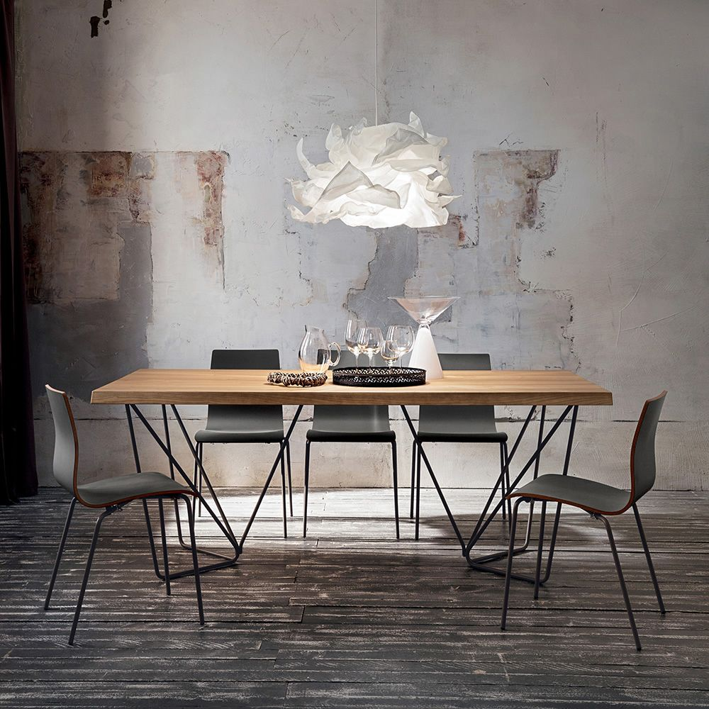 Metal table in lacquered, debarked oak top