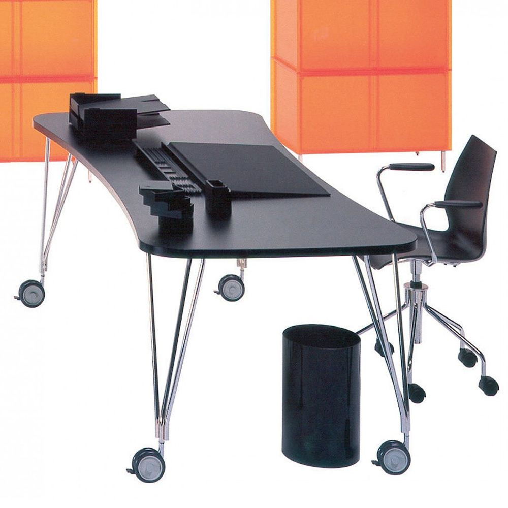 Desk with wheels, chromed steel with black laminate top