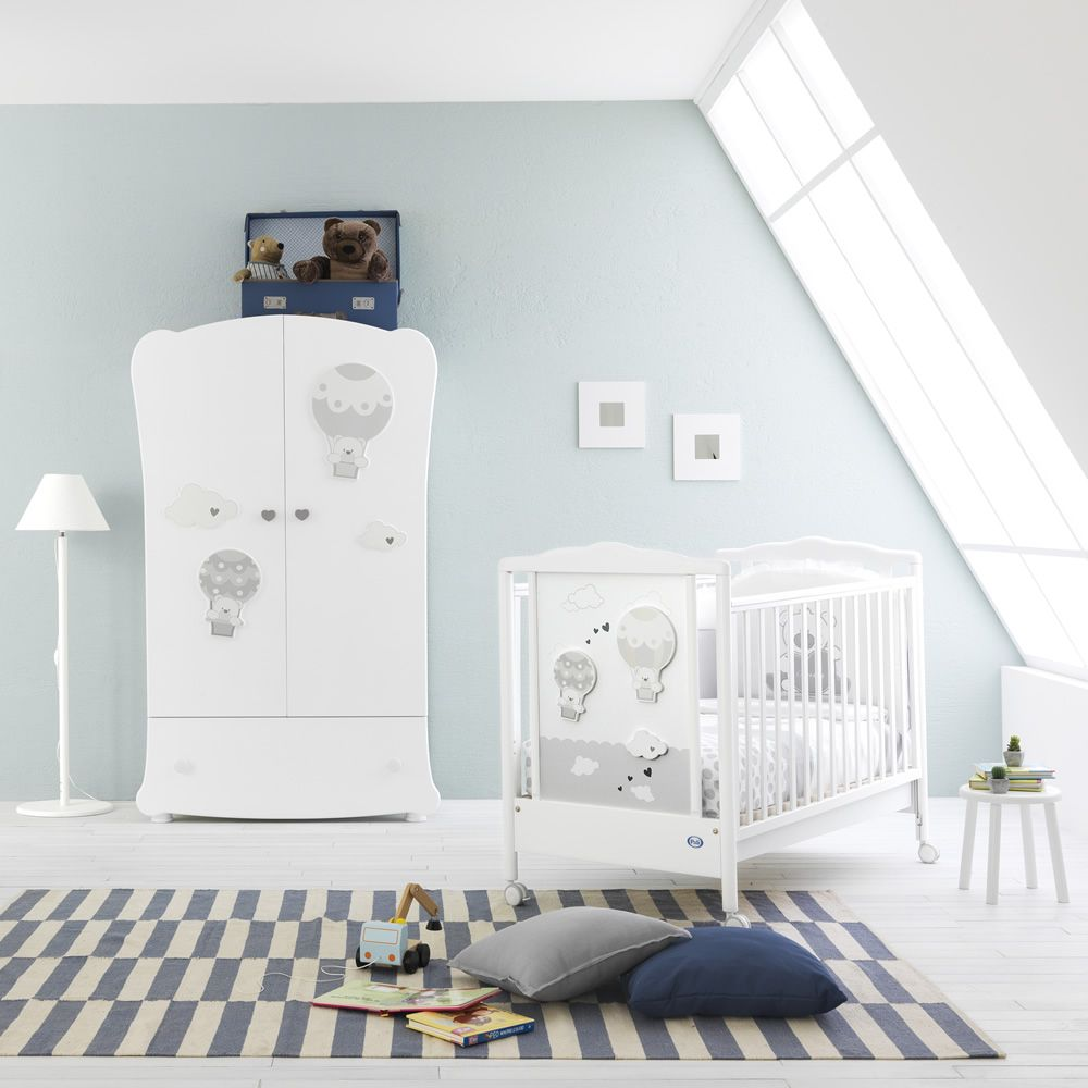 Wooden cot in white lacquered