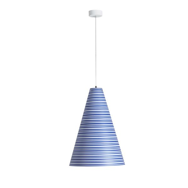Pendant lamp made of polypropylene with striped decoration in blue colour
