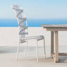 InOut 855 - Gervasoni chair, in aluminium, with elastic belts, stackable, also for garden