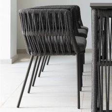 Cliff S - Armchair in aluminium and rope, also for garden
